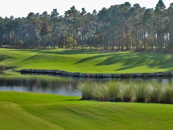 lake on golf field